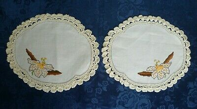 Pair  Vintage Small Hand Embroidered Floral Doiley With Cream Crocheted Edges