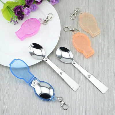 1Pc Portable Convenient Camp Stainless steel Eating Dessert Folding Fold Spoon