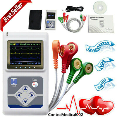 New 3 channel 24 Hours dynamic ECG holter, EKG Electrocardiograph,software USB