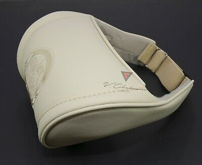 Anatomic Headrest Pillow Leather Beige Car Neck Rest Cushion Embroidery Cadillac