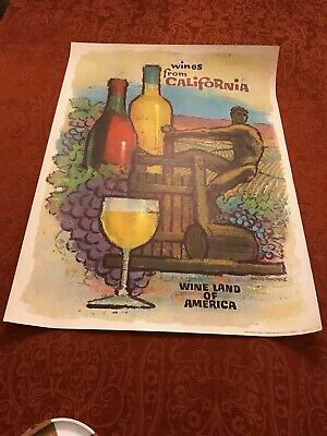 """Vintage Poster, """"Wines From California"""" by Amado Gonzalez, Wine Board-Circa 1965"""
