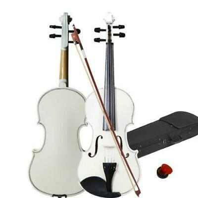 4/4 Full Size Basswood Acoustic Violin Fiddle Set with Case Bow Rosin White
