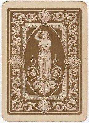 Playing Cards 1 Single Swap Card - Old Antique Wide ROMAN TOGA LADY Lion Head