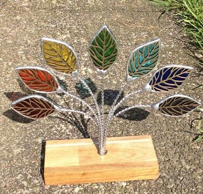 Stained Glass Rainbow Leaf Decoration