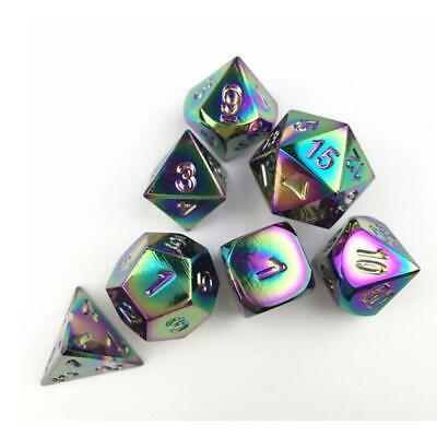 Rainbow Metal Polyhedron Dice W Bag DND RPG MTG Role Playing Board Game Dice