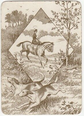Playing Cards 1 Single Swap Card - Old Antique Wide HUNTING Dogs Dog LADY HORSE