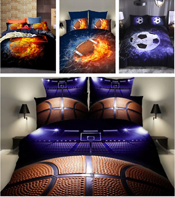 UK 3D Bedding Set Basketball Football Rugby Duvet Quilt Cover Single Double King