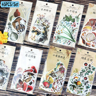 45pcs/set Paper Stickers Classical Shaped Plants Diary Label Scrapbooking DIY~