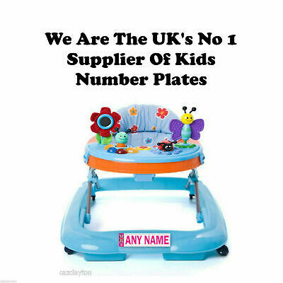 """Personalised Number Plate For Your Baby Walker """"Pink"""" Uk"""