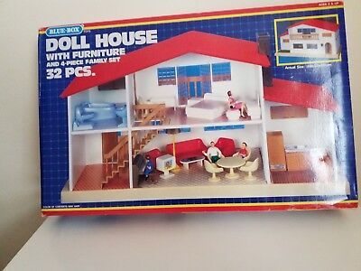 VINTAGE Blue Box DOLLHOUSE Complete BOXED Fully Furnished with Family RARE ITEM.