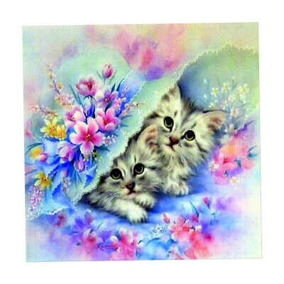 1 Set 5D Diamond Two Kittens Painting Kits DIY Cross Stitch Mosaic Crafts