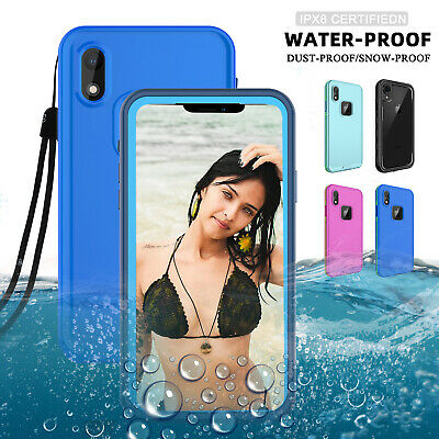For iPhone X XS XR XS Max Waterproof Protective Case Cover With Screen Protector