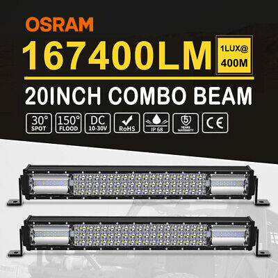 """2x 22INCH LED Light Bar Triple Row Combo Beam Work Driving Off Road 4WD 20'' 23"""""""