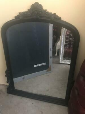 Antique French Style Black Carved Arch Top Mantle Mirror Bevelled