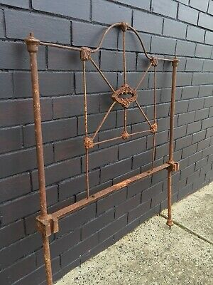 Early 1900's Antique Cast Iron Bedhead Rustic Garden Wall Art