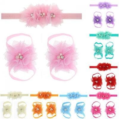 Infant Baby Girl Newborn Hair band + Foot flower Rhinestone Shoes Headband