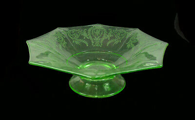 """Central Glass Works - Unusual - Cupid Etched 10"""" Octagon Footed Green Bowl!"""