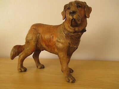 Large Antique Black Forest Carved H. Mader St. Bernard Dog Swiss Wood Carving