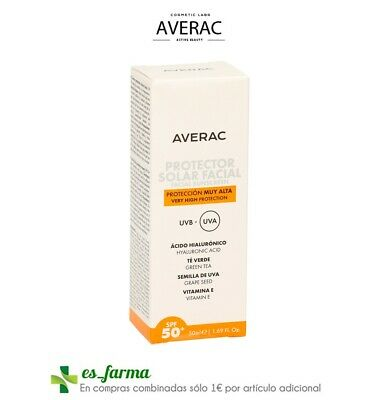 Averac Protector Solar Facial Sunscreen Spf50 50Ml Acido Hialuronico Te Verde