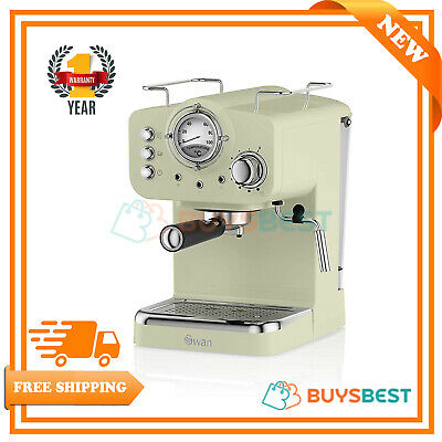 Swan Retro 15 Bars Pump Espresso Coffee Machine In Green - SK22110GN