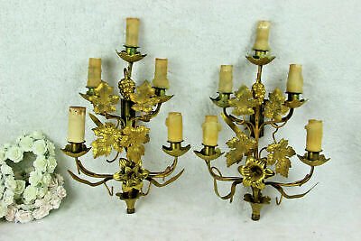 Antique Religious church french wall lights sconces brass metal flowers