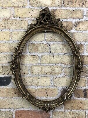 Vintage Ornate Gold Gilt Detail Rococo / Baroque Oval Picture Frame, Medium