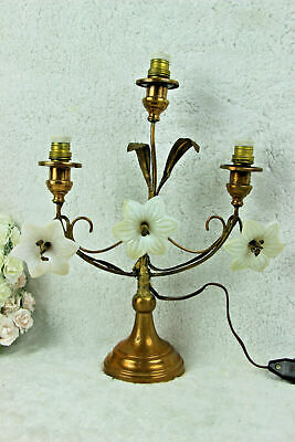 Antique Religious altar church french Lamp opaline lily flowers 3 arms
