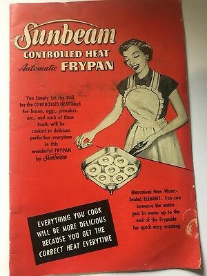 1953 SUNBEAM Controlled Heat AUTOMATIC FRYPAN Directions Manual 18 Pg COOKBOOK