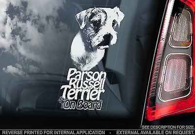 Parson Russell Terrier - Car Window Sticker - Jack Dog on Board Sign Gift - TYP1