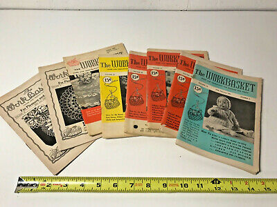 "Lot of 8 Vintage ""The Workbasket"" Needlecraft Magazines 1940s-1950s"