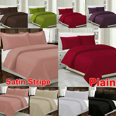Plain Single Double Duvet Cover Bedding Set With Pillowcases All Size Fitted UK