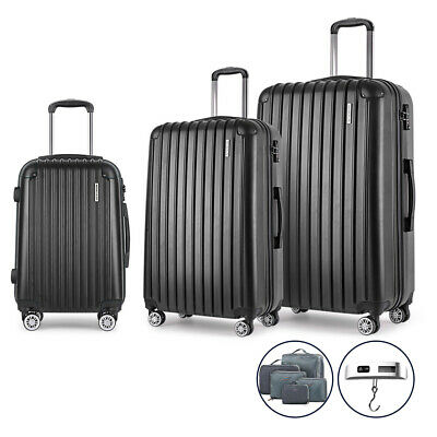 Wanderlite 3pc Luggage Suitcase Trolley Set TSA with Scale Storage Organiser BK