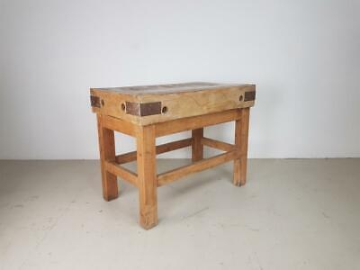 VINTAGE 1930s BUTCHERS BLOCK TABLE DINING KITCHEN WORK BENCH #2657
