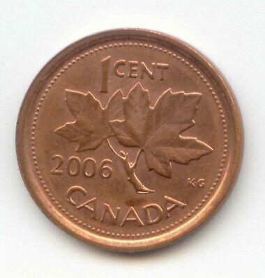 Canada 2006 (blank - no mint mark) Penny Canadian 1 Cent 1c EXACT COIN SHOWN