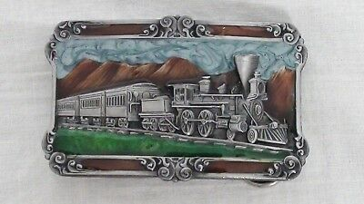 Vintage 1984 Siskiyou Buckle Company Steam Train Railroad Belt Buckle
