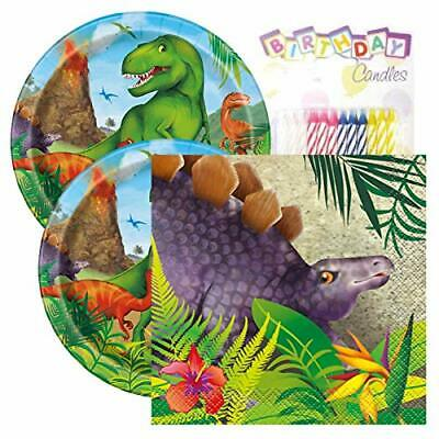 Lobyn Value Packs Dinosaur Birthday Party Pack - Paper Plates & Napkin Set