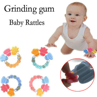 Sale Healthy Safety Circle Ring Baby Rattle Teether Silicone Infant Biting Toys