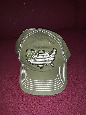 Budweiser Olive Green USA Patriotic Veterans Hat Cap Free Shipping NWOT