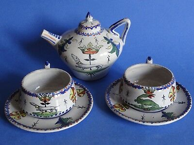 Vintage Two Cups And Small Jug  French Faience Alcide Chaumeil 19 Th Century