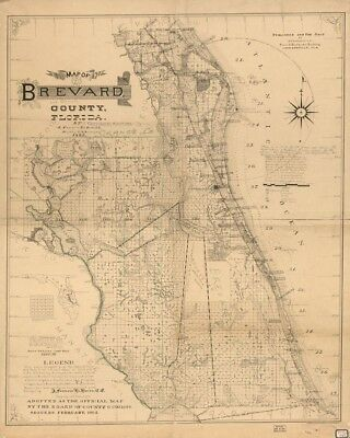 Map of Brevard County, Florida, 1893, 1800's Old Map Photo Reproduction