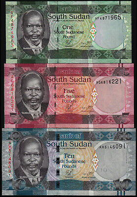 South Sudan 1, 5, 10 Pounds (P5, 6, 7) Set Of 3 Notes Unc