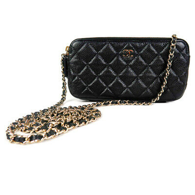 ffc533aaf0f0 Chanel 2018 Caviar Wallet on a Chain Black Quilted Leather CC Crossbody Bag  Gold