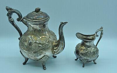 Antique Teapot & Creamer Signed Best English Metal Deco Britich Collection