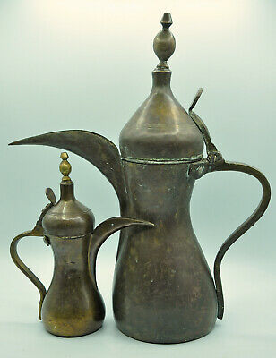 2 Coffee Makers or Teapots Arab Dallah Saoudie Copper or Brass Collection