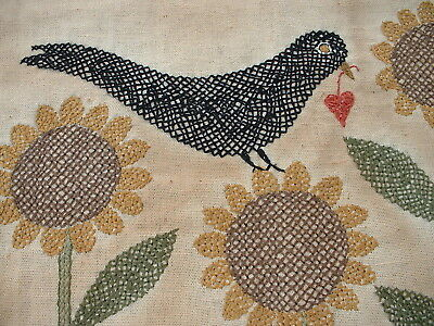 CROW SUNFLOWER Red Ranch Primitives Shop Sample Made By Pattern ARTIST OOAK