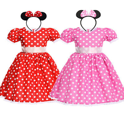 66bfb05647e62 Kids Girls Polka Dots Dress Minnie Mouse Princess Party Birthday Outfit  Costume