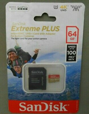 SANDISK EXTREME PLUS MICRO SDXC UHS-I 64GB MEMORY CARD New Genuine Free Shipping