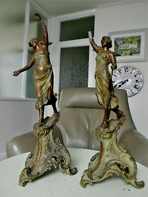 Pair of Late 19th Century French Bronzed Neoclassical Spelter Female Figures