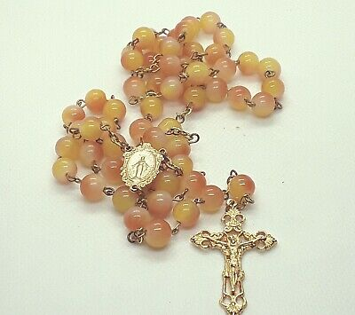 Handmade peach marble Miraculous Medal gold plate rosary--FREE SHIPPING