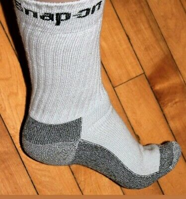6 Pairs Men's Gray Snap On Crew Socks L ~ MADE IN USA     New!